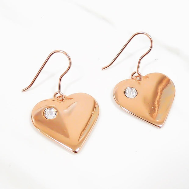 Heart with crystal hook earrings, rose gold