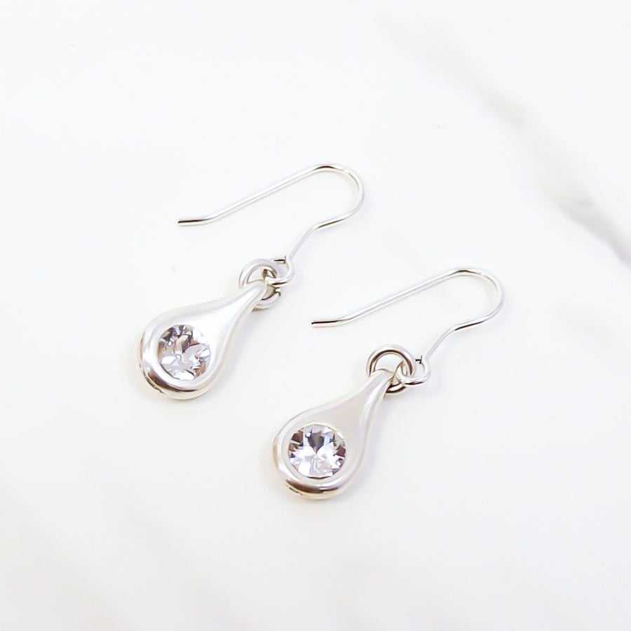 Bevelled heart hoop earrings, silver