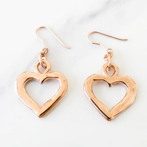 Hammered open heart earrings, rose gold