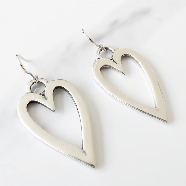 Long open heart earrings, silver