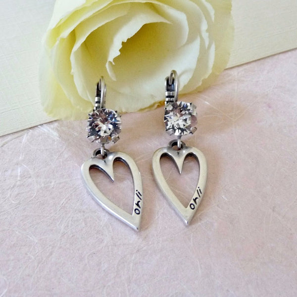 Mini open heart and crystal drop earrings