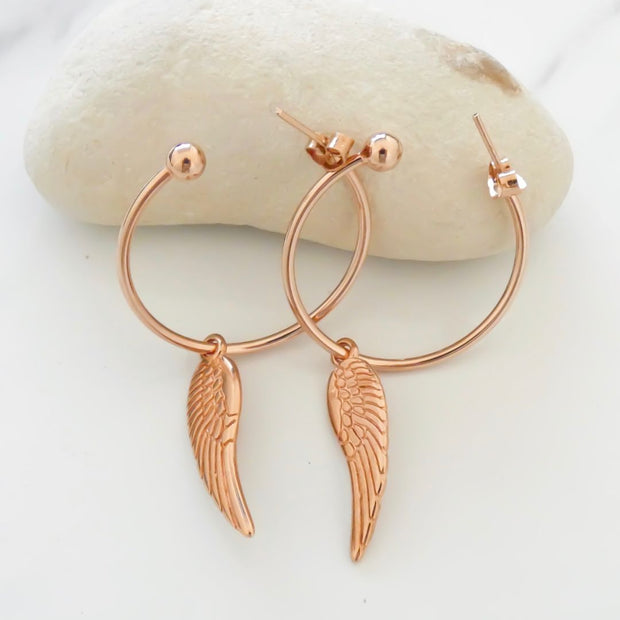 Angel wing large hoop earrings, rose gold - Orli Jewellery