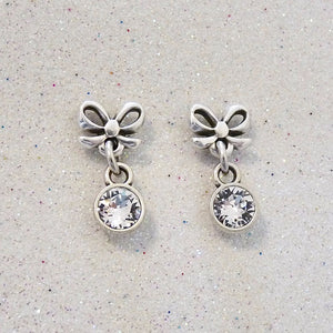 Bow stud and dropping crystal earrings