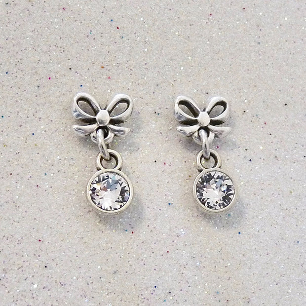 Bow stud and dropping crystal earrings - Orli Jewellery
