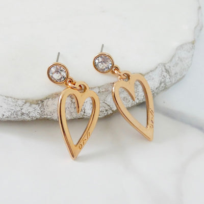 Crystal and open heart stud earrings, rose gold - Orli Jewellery