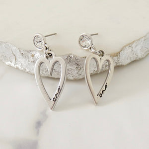 Crystal and open heart stud earrings, silver