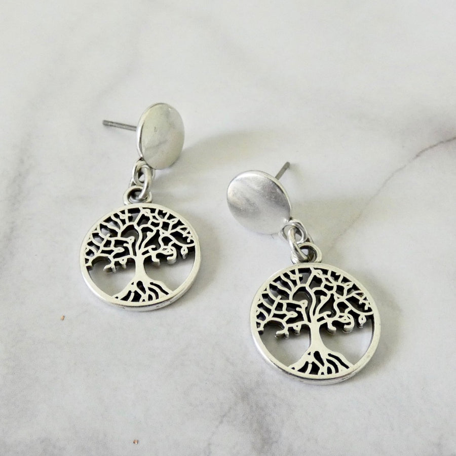 Tree of life stud earrings, silver