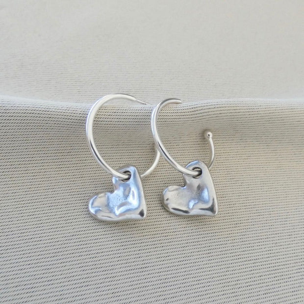 Bevelled heart hoop earrings, silver - Orli Jewellery