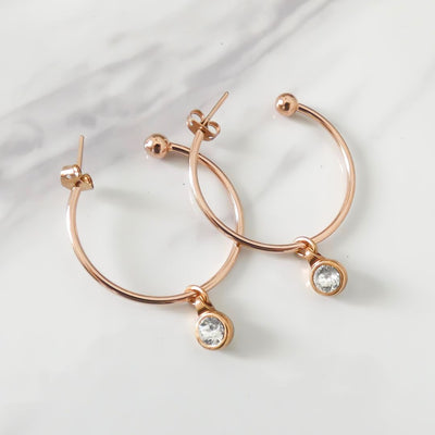 Swarovski crystal hoop earrings, rose gold
