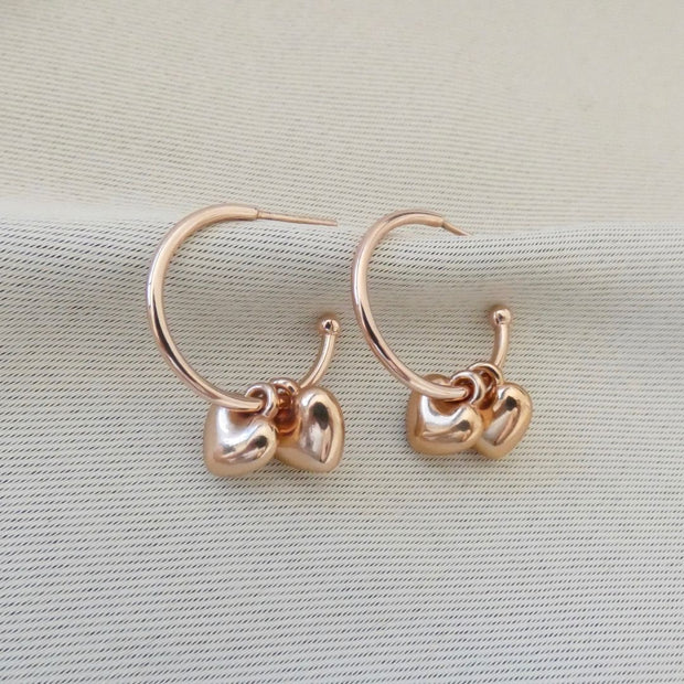 Twin puffed heart hoop earrings, rose gold