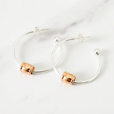 Gliding barrel hoop earrings, silver and rose gold - Orli Jewellery