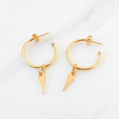 Pointed heart hoop earrings, yellow gold