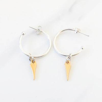 Pointed heart hoop earrings, silver and yellow gold