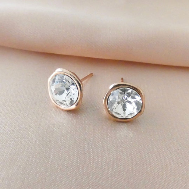Crystal stud earrings, rose gold - Orli Jewellery