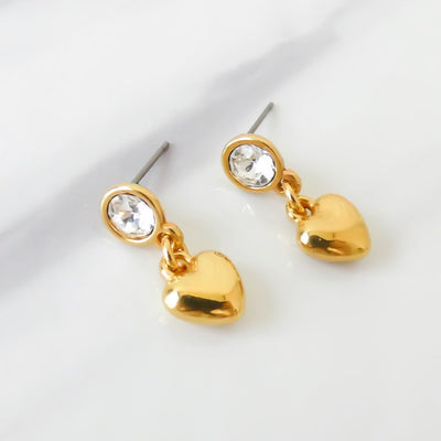 Crystal and puffed heart drop stud earrings, gold - Orli Jewellery