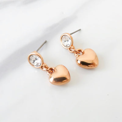 Crystal and puffed heart drop stud earrings, rose gold - Orli Jewellery
