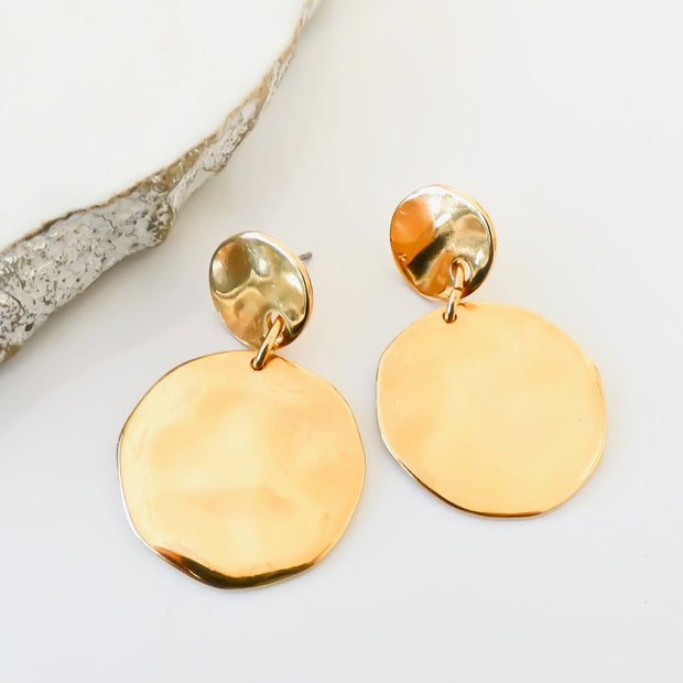 Hammered circle statement earrings, yellow gold