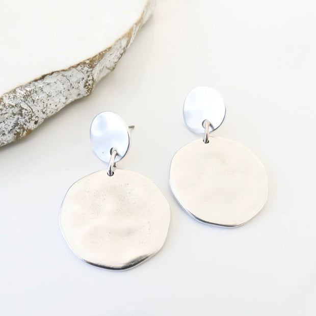 Hammered circle statement earrings