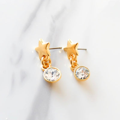 Star stud and dropping crystal earrings, yellow gold
