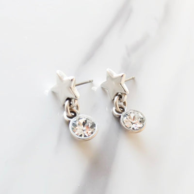 Star stud and dropping crystal earrings, silver