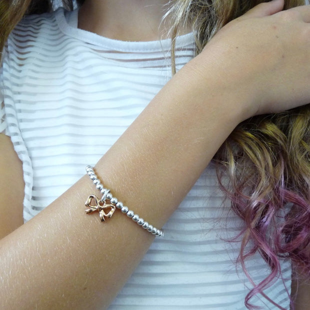 Girls beads and bow bracelet, silver and rose gold - Orli Jewellery