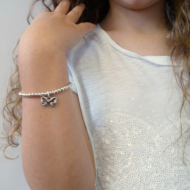 Girls beads and bow bracelet - Orli Jewellery