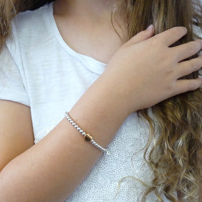 Children's beads and glider heart bracelet, silver and rose gold - Orli Jewellery