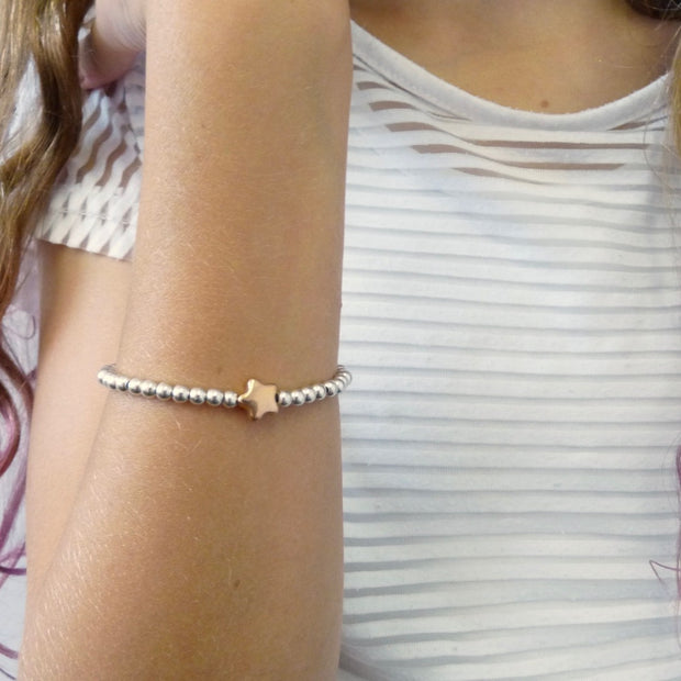 Girls beads and glider star bracelet, silver and rose gold - Orli Jewellery