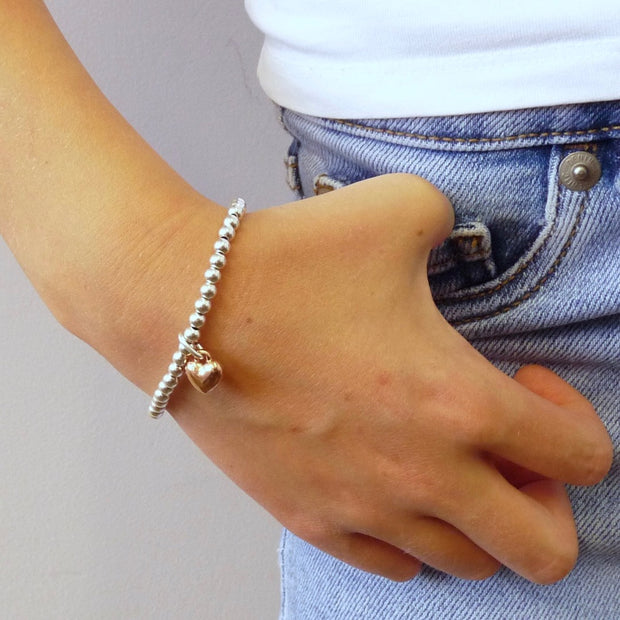 Girls beads and puffed heart bracelet, silver and rose gold - Orli Jewellery