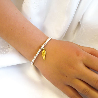 Children's beads and angel wing bracelet, silver and gold - Orli Jewellery