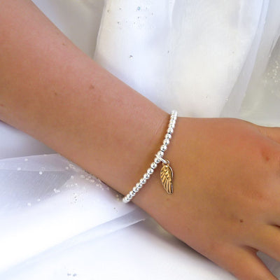 Children's beads and angel wing bracelet, silver and rose gold - Orli Jewellery