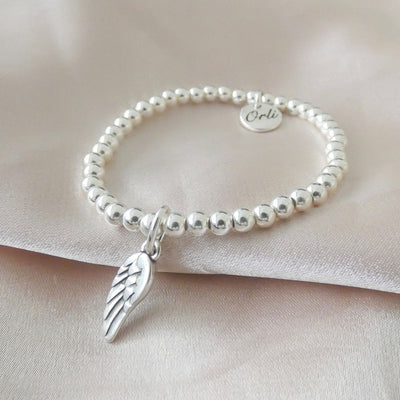 Children's beads and angel wing bracelet - Orli Jewellery