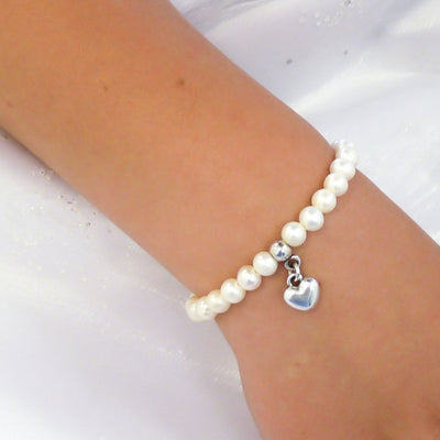 Children's pearls and puffed heart bracelet - Orli Jewellery