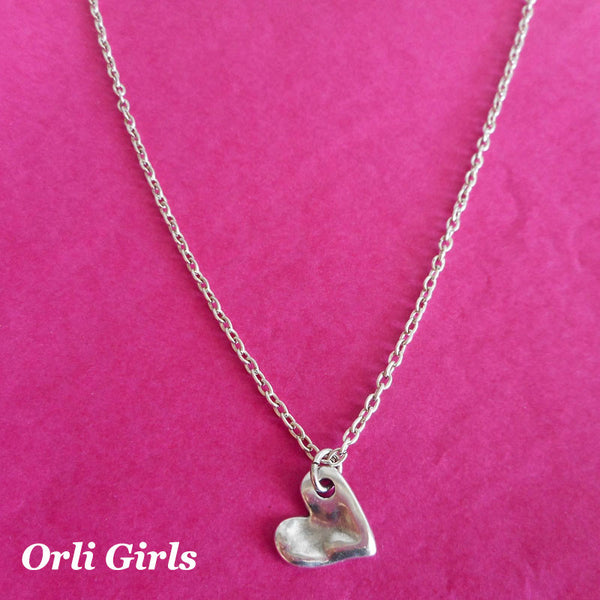 Girls bevelled heart necklace - Orli Jewellery