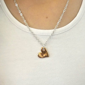 Girls bevelled heart necklace, silver and rose gold