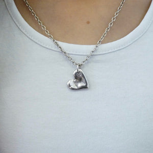 Girls bevelled heart necklace