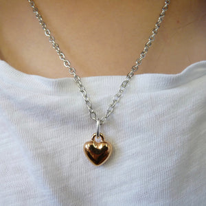Girls puffed heart necklace, silver and rose gold