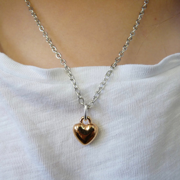 Girls puffed heart necklace, silver and rose gold - Orli Jewellery
