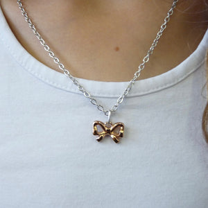 Girls bow necklace, silver and rose gold