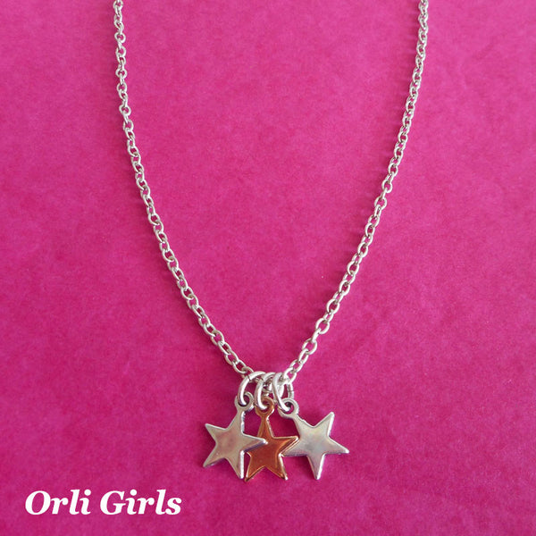 Girls triple stars necklace, silver and rose gold - Orli Jewellery