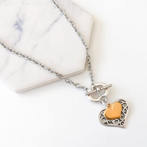 Filigree and mini heart necklace, silver and gold
