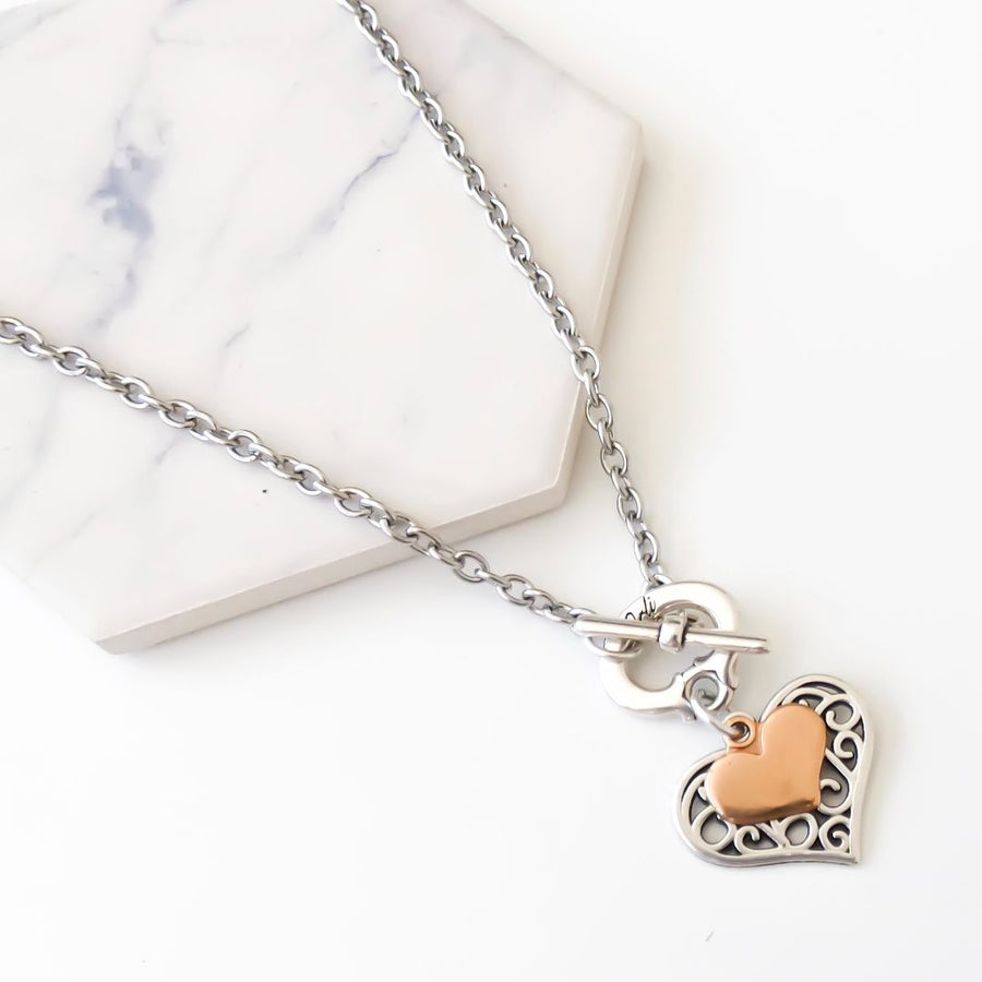 Filigree and mini heart necklace, silver and rose gold