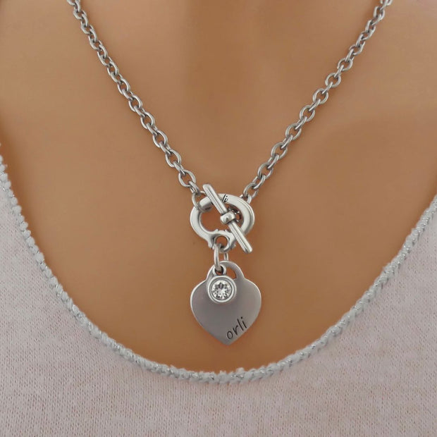 Orli heart and crystal necklace