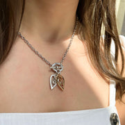 Silver and rose gold mini hearts and crystals t-bar necklace