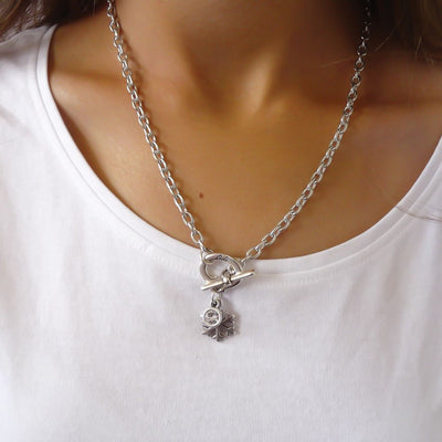 Snowflake and crystal necklace