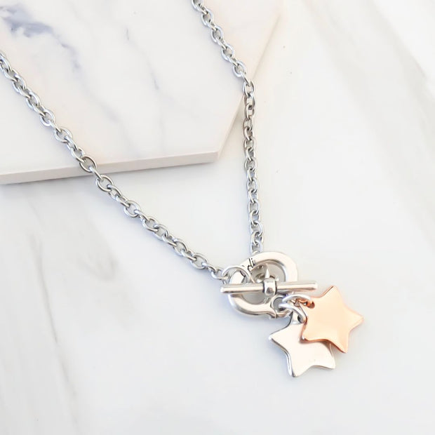 Twin stars necklace, silver and rose gold