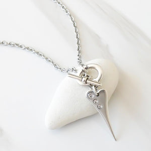 Mini pointed crystal heart t-bar necklace