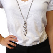 Long open heart and barrel double necklace - Orli Jewellery