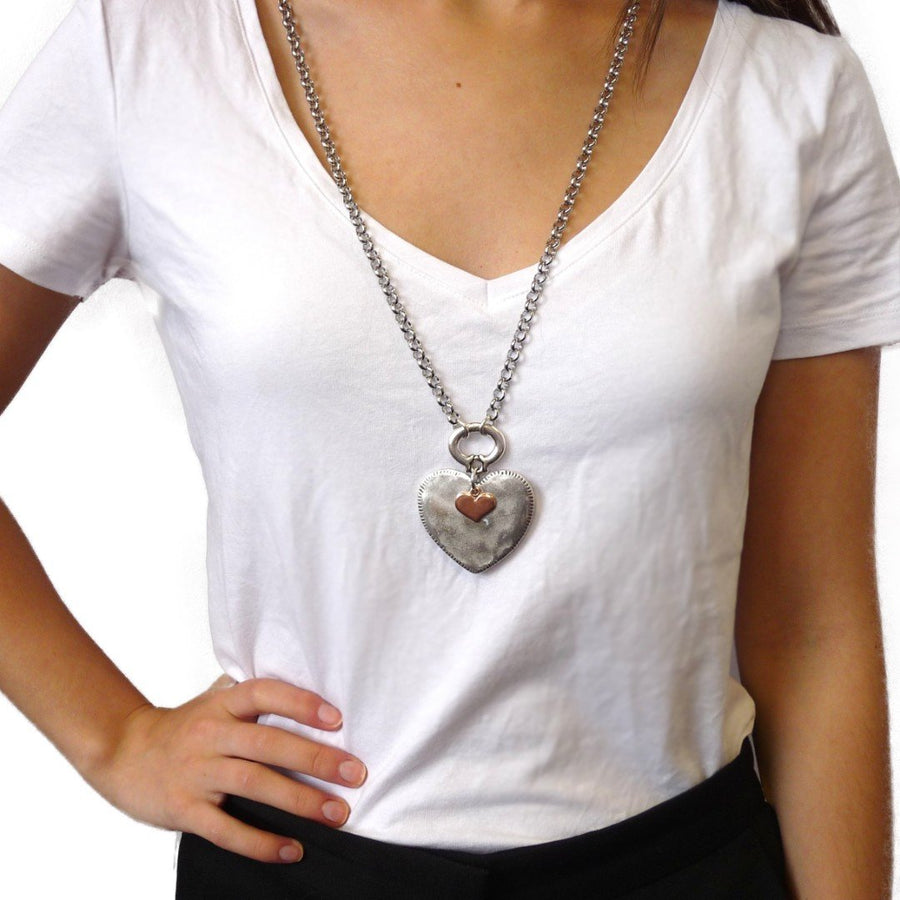 Hammered heart and mini heart chunky double necklace, silver and rose gold