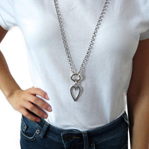 Long open heart chunky double necklace